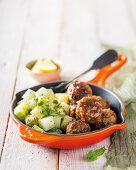 Boerie meatballs with potato salad