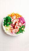 Pork with asian salad bowl