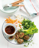 Asian Meatballs with vegetable salad