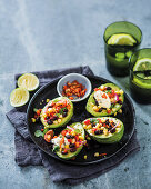Avocado cups with corn salsa