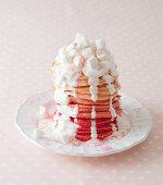 A festive marshmallow pancake-cake