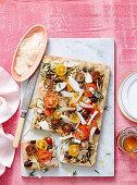 Gluten-free zucchini, olive and tomato focaccia