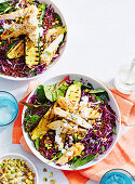 Quinoa and Grilled Chicken Salad with Blue Cheese Dressing