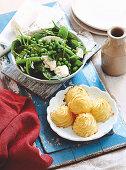 Duchess potatoes and Warm Pea Salad