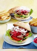 Lamb leg steak burgers with beetroot sauce