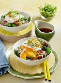 Sweet chilli poached egg soba noodles