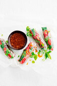 Healthy rice paper dippers with tamarinf sauce
