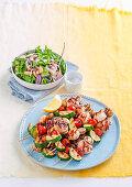 Barbecued seafood skewers with asparagus salad