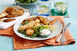 Coconut fish fingers with caper mayo