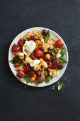 Roast tomato and bread salad with olives and mozzarella