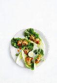 Thai meatball lettuce cups