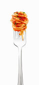 Twirl of spaghetti with marinara sauce on a fork
