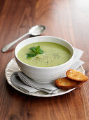 Pea soup with mint and creme fraiche