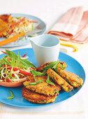 Halloumi-Zucchini-Frikadellen mit Salat