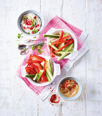 Raw vegetables with two dips (low carb)