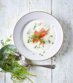Cream of dill soup with salmon (low carb)