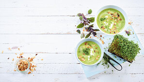 Courgette soup with flaked almonds and cress (low carb)