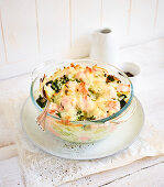 Salmon and savoy cabbage bake