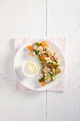 Sweet potato salad with chicken and kiwi