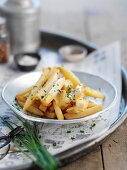 French fries with chive sauce