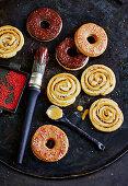 Doughnut rings and cinnamon buns
