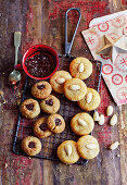 Sugar-free biscuits with nuts and jam