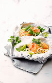Salmon and udon parcels with miso butter