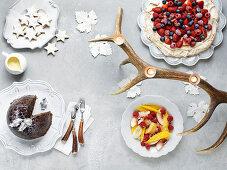 Various Christmas desserts
