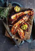 Grilled sticky ribs with lime and thyme