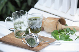 A herbal drink in a glass