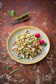 Mung bean salad with celery, radishes, nuts and seeds