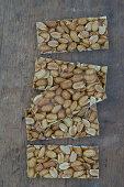 Homemade peanut brittle (top view)