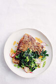 T-bone steaks with miso sesame snap salad