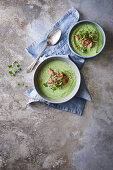 Cold avocado and cucumber soup with yoghurt, served with smoked salmon