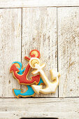 Anchor biscuits with colorful icing