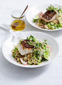 Crispy skin fish with brown rice and cucumber salad