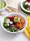 Super Burrito Bowls with Broccoli Guacamole
