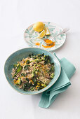 Couscous with broccoli, kale, olives, capers and turmeric