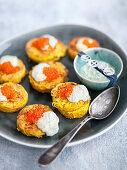 Tagliolini blinis with salmon caviar