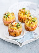 Mini pasta bakes filled with seafood and endives