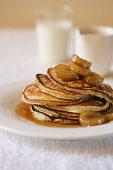 Ricotta Pancakes with Hot Banana Syrup
