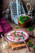 Beetroot ravioli with soft cheese fillling