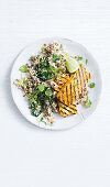 Grilled korma tofu steaks with lentil and spinach cauliflower rice (Low Carb)