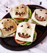 Jack-O-Lantern Burgers for Halloween