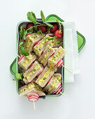 Sandwich skewers with egg and radishes
