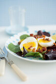 Runny Eggs with Salad Pancetta