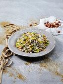 Hemp Tagliatelle Pasta with Leeks and Hazelnuts