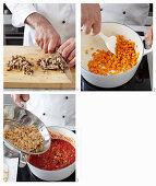Sojabohnenragout mit Shiitake zubereiten