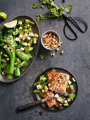 Fried salmon with sesame seeds served with bok choy with peanuts, chilli, tofu and cucumber