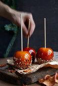 Caramel apples for christmas